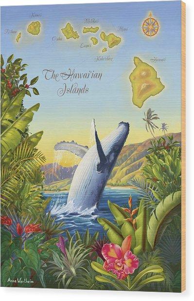 Tropical Hawaiian Island Map Wood Print by Anne Wertheim