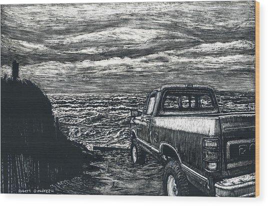 Truck At Nantucket Wood Print by Robert Goudreau
