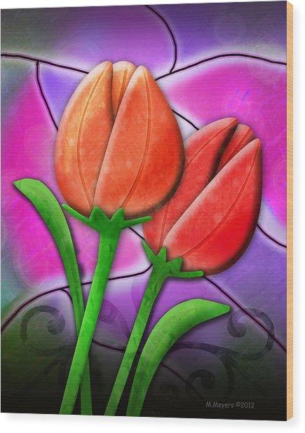Tulip Glass Wood Print by Melisa Meyers