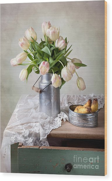 Tulips And Pears Wood Print