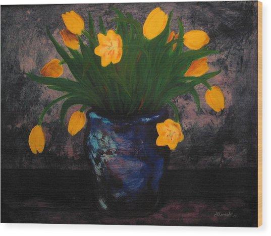 Tulips In Blue Wood Print