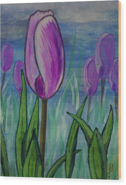 Tulips In The Mist Wood Print