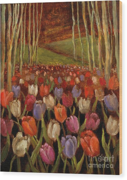 Tulips In The Woods Wood Print
