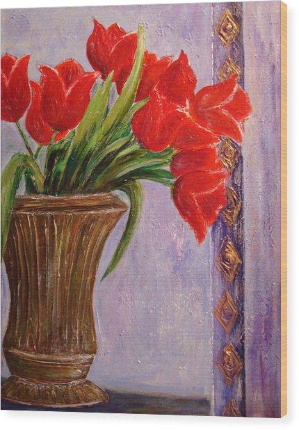 Tulips In Vase Wood Print