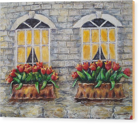 Tulips On The Wall Wood Print