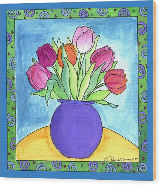 Tulips Wood Print by Pamela  Corwin