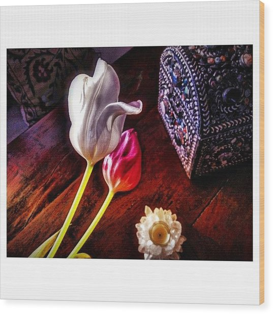 Tulips With Jeweled Chest Wood Print