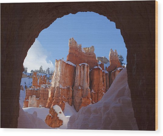 Tunnel In The Rock Wood Print