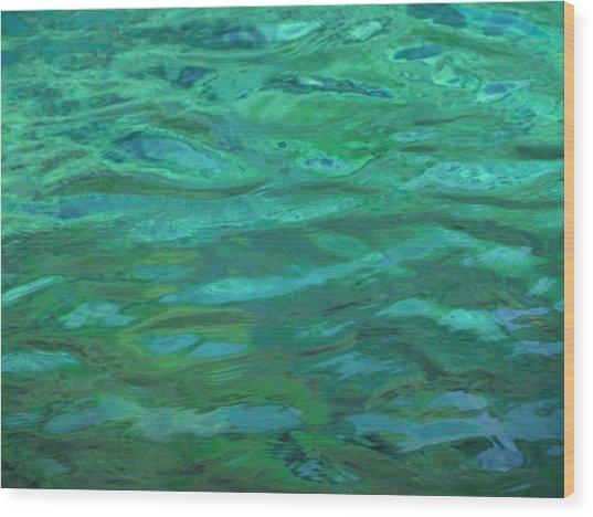 Turquoise Ripples Wood Print