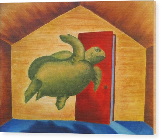 Turtle Entrapment Wood Print