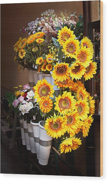 Tuscan Flower Stand Wood Print