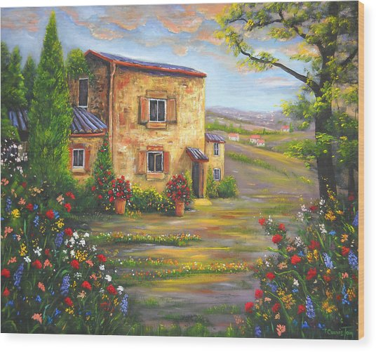 Tuscany Farmhouse Wood Print by Connie Tom