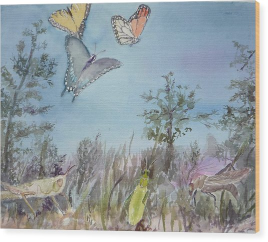 Twilight In The Garden Wood Print by Dorothy Herron