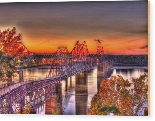 Wood Print featuring the photograph Twin Bridge At Sunset-hdr by Barry Jones