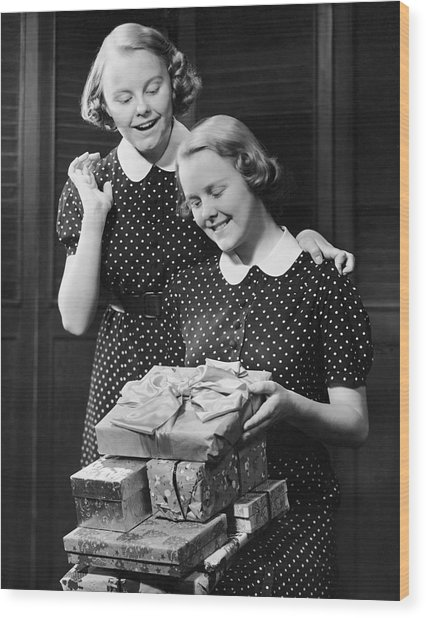 Twin Teenage Girls W/ Wrapped Gifts Wood Print by George Marks