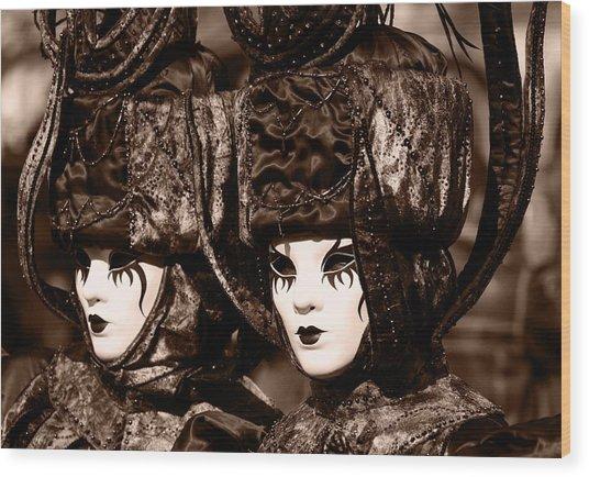 Twins In Sepia Wood Print by Simona  Mereu