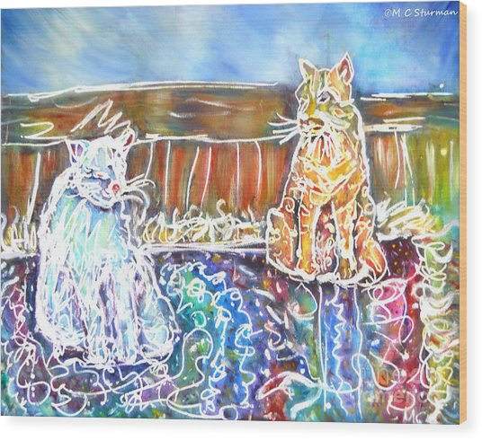Two Cats On The Carpet Wood Print by M c Sturman