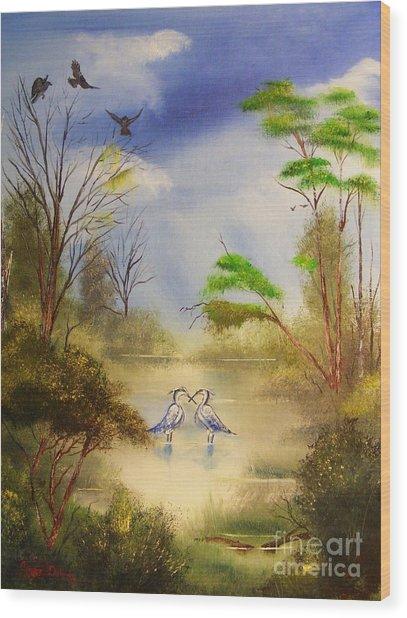 Two Herons Wood Print by Crispin  Delgado