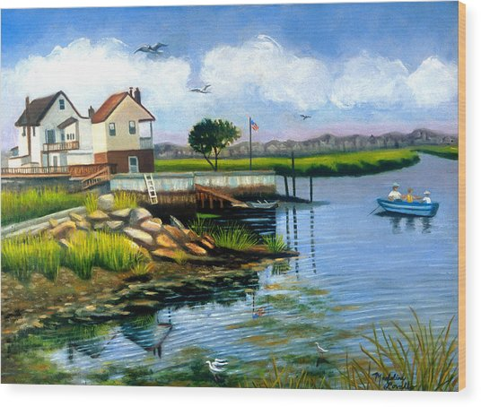Two Houses In Broad Channel Wood Print