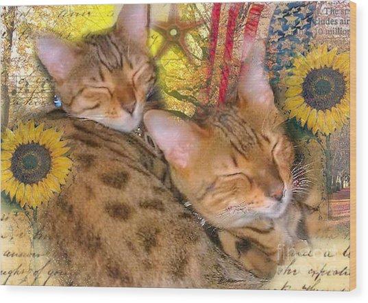 Two Kitties Sitting In A Tree Wood Print