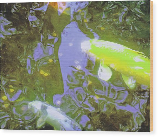 Two Koi In Water Garden Wood Print by Jerry Grissom