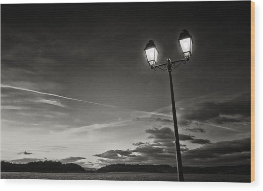 Two Lights At The Sunset Wood Print by Philippe Taka