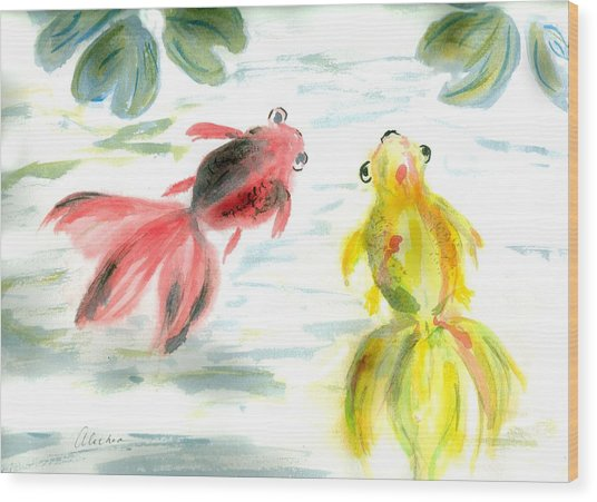 Two Little Fishes Wood Print