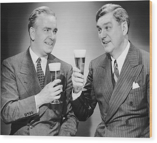 Two Men With Alcoholic Beverages Wood Print by George Marks