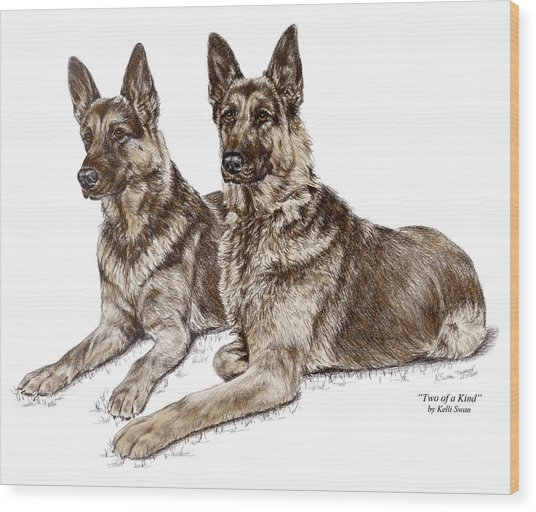 Two Of A Kind - German Shepherd Dogs Print Color Tinted Wood Print