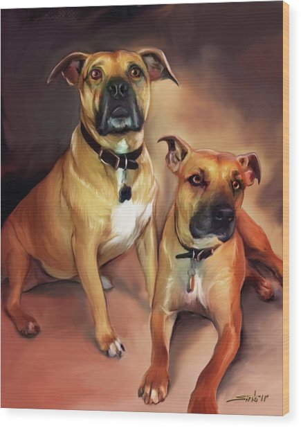 Two Pit Bull Terriers Wood Print