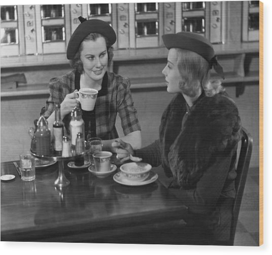 Two Women At Restaurant Wood Print by George Marks