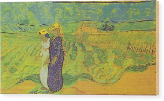 Two Women Crossing The Fields Wood Print by Vincent Van Gogh