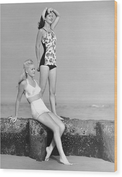 Two Women In Bathing Suits Wood Print by George Marks