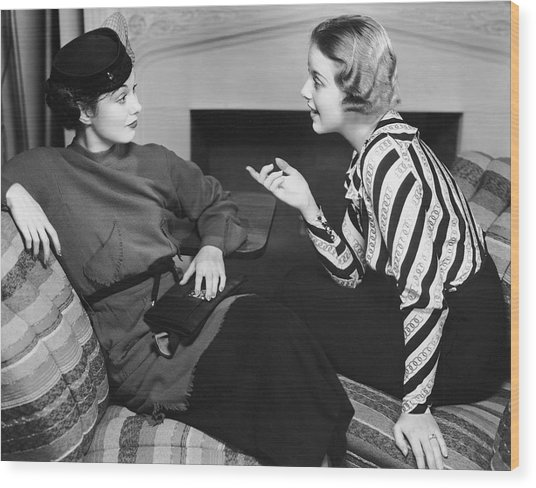 Two Women In Casual Conversation Wood Print by George Marks