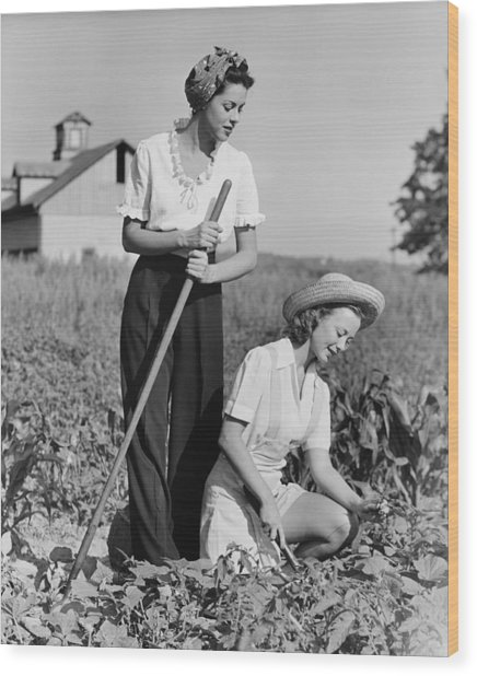 Two Women Working On Field, (b&w) Wood Print by George Marks