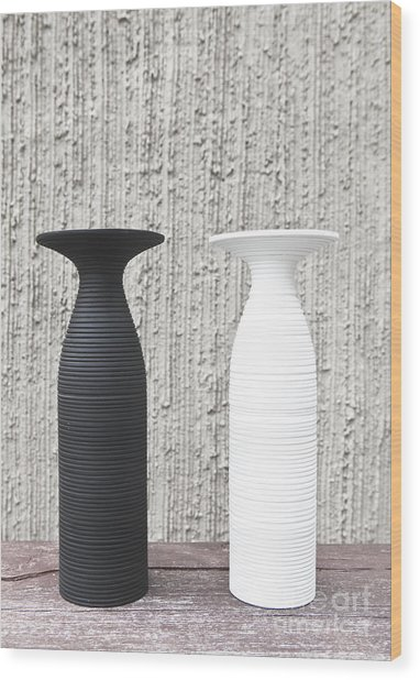twoWhite and black vases Wood Print by Chavalit Kamolthamanon