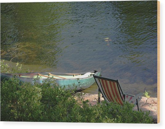 Typical Canoe And Chair Wood Print by Carolyn Reinhart