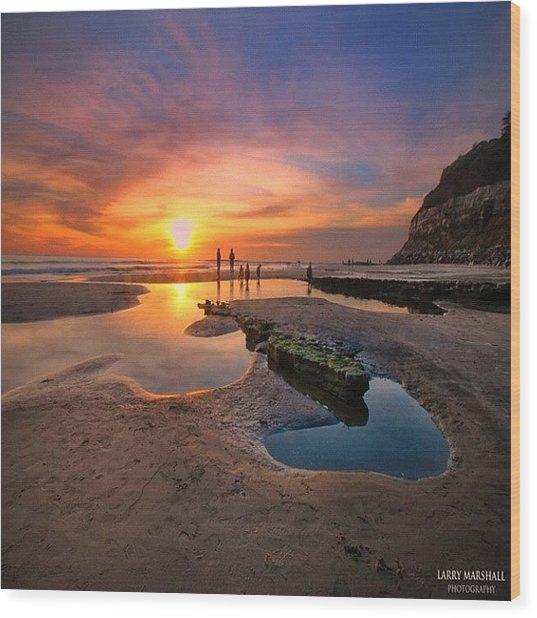 Ultra Low Tide Sunset At A North San Wood Print by Larry Marshall
