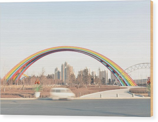 Under Rainbow Wood Print by Andy Brandl