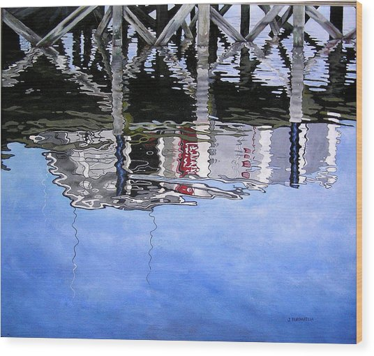 Under The Dock Wood Print by Judy Burgarella