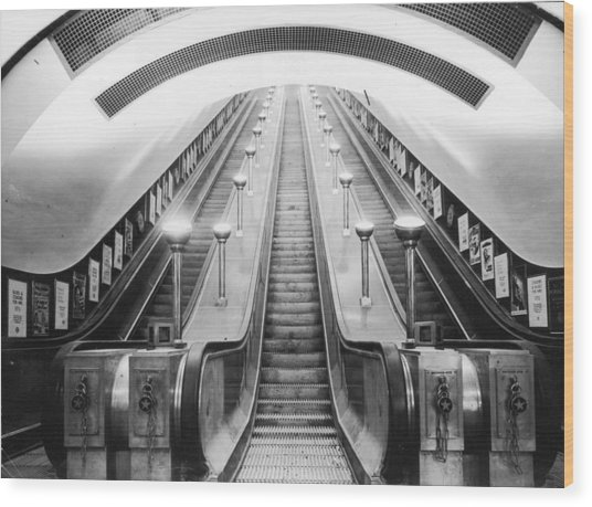 Underground Escalator Wood Print by Archive Photos