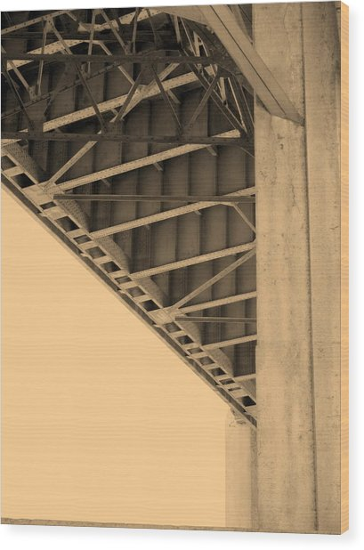 Underside Of 6th Street Bridge Wood Print by Kevin  Break