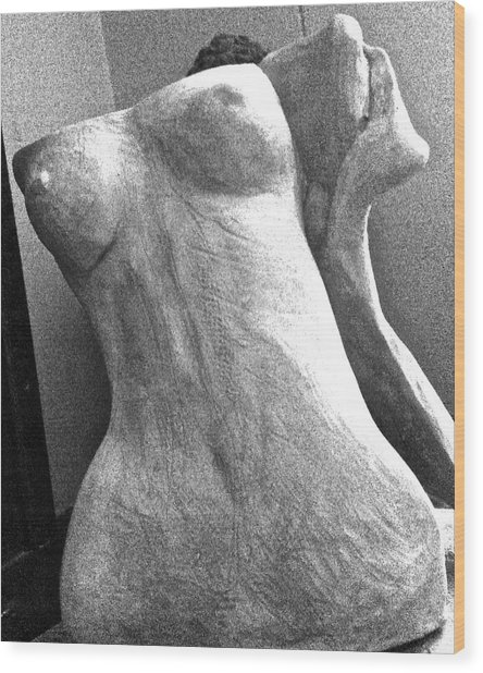 Undressed In Black And White Frontal View Wood Print