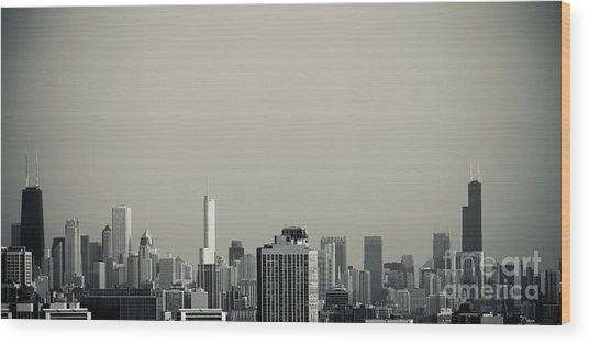 Unique Buildings In Chicago Skyline   Wood Print