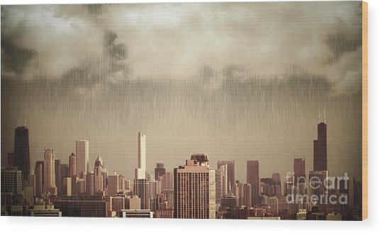 Unique View Of Buildings In Chicago Skyline In The Rain Wood Print