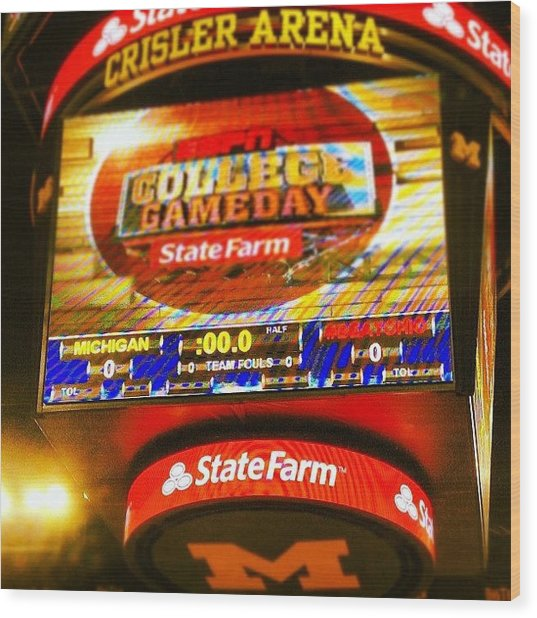 University Of Michigan Jumbotron Wood Print