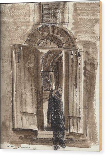 Uno Negozio In Siena Watercolor And Conte Crayon Wood Print