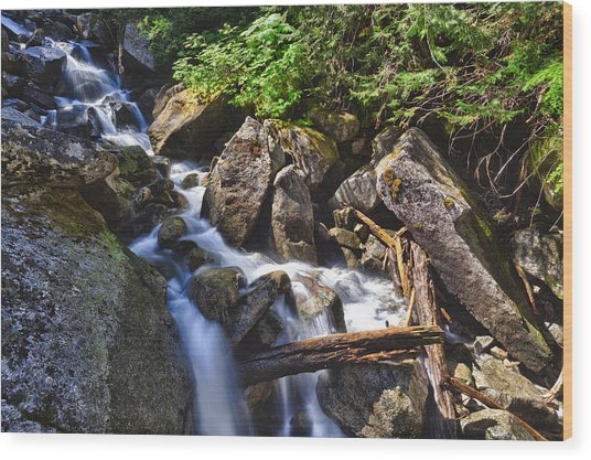Upper Cascades Of Malchite Creek Wood Print