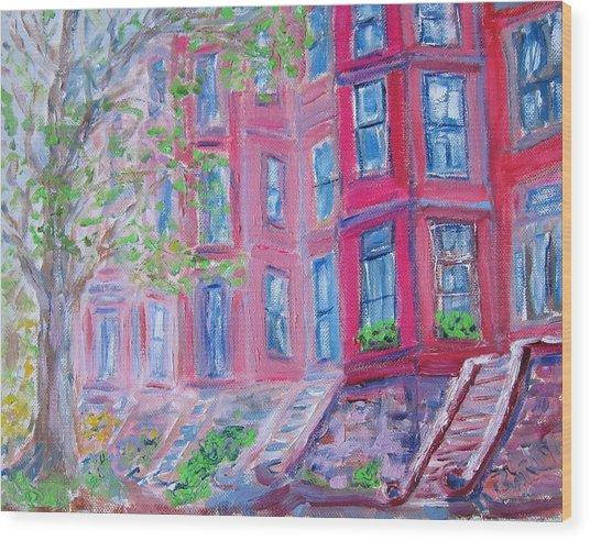 Upper West Side Brownstones Wood Print