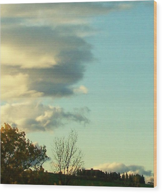 Upward Clouds Wood Print